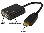 כבל ממיר HDMI TO VGA + אודיו, תומך עד 1080P לחיבור מחשב/ממיר בעזרת חיבור VGA.