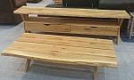 מזנון + שולחן דגם אליס מעץ אלון מבוקע מלא