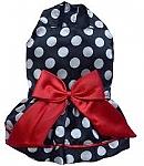 מעיל שמלה לכלב קטן שחור נקודות DOGGY DOLLY