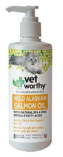 """שמן סלמון תוסף למזון לפרווה עשירה לחתול 236 מ""""ל Vet Worthy - 1"""
