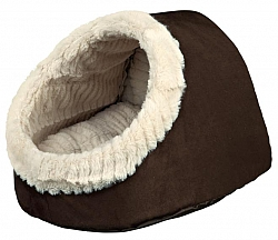 מיטה איגלו לכלבים קטנים וחתולים חום קטיפתי טריקסי Timur Trixie