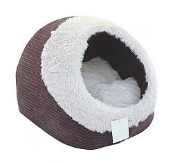 מיטה איגלו חום פרוותי לחתולים וכלבים קטנים