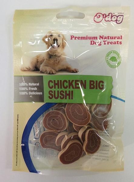 אודוג חטיף רך לכלב על בסיס עוף ודג קוד בצורת סושי O