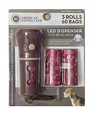 פנס לד שהוא מתקן לשקיות איסוף צואה + 3 גלילי שקיות AKC Led Dispenser - 1