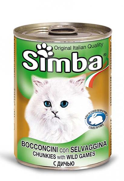 סימבה שימורים לחתולים עם נתחי בשר צייד - 1