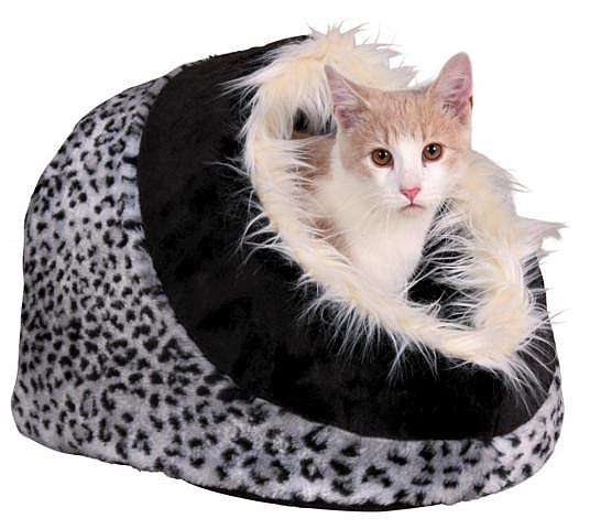 מיטה איגלו אפור שחור מנומר לכלבים קטנים וחתולים טריקסי Minou Trixie - 2