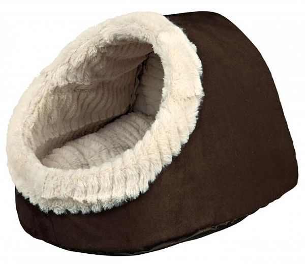 מיטה איגלו לכלבים קטנים וחתולים חום קטיפתי טריקסי Timur Trixie - 1