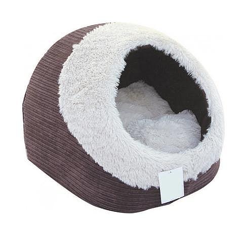 מיטה איגלו חום פרוותי לחתולים וכלבים קטנים - 1