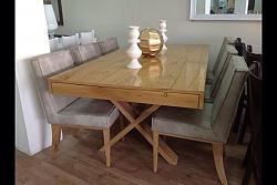 שולחן לפינת אוכל + 6 כסאות דגם פסגות מעץ אלון מבוקע