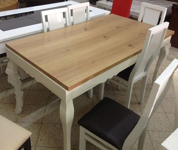 שולחן פינת אוכל + 6 כיסאות דגם לואי 19 מעץ אלון מבוקע  בשילוב אפוקסי - 1