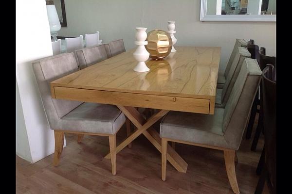 שולחן לפינת אוכל + 6 כסאות דגם פסגות מעץ אלון מבוקע - 1