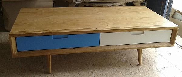 שולחן סלון מעץ אלון מבוקע בשילוב אפוקסי דגם n199 - 1
