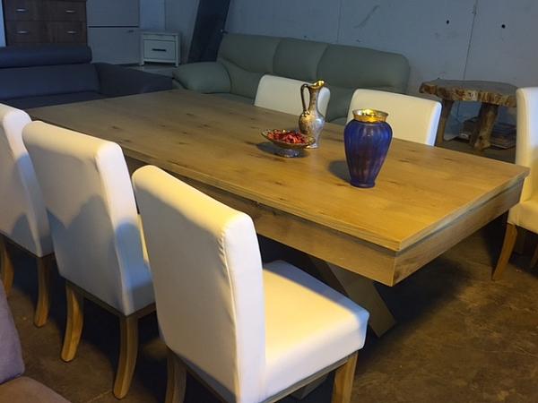 שולחן לפינת אוכל + 6 כסאות  אלון מבוקע מתצוגה - 1