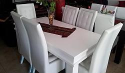 שולחן פינת אוכל + 6 כיסאות מאפוקסי דגם מצדה