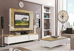 מזנון + שולחן + מסגרת פלזמה דגם N 878 מעץ אלון מבוקע מלא בשילוב אפוקסי