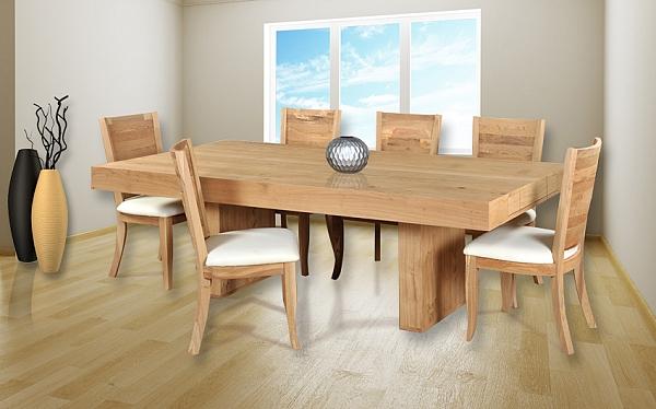 שולחן פינת אוכל + 6 כיסאות דגם דיאנה מעץ אלון מבוקע - 1