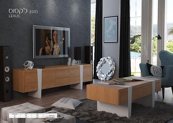 מזנון + שולחן דגם לקסוס מעץ אלון מבוקע  בשילוב אפוקסי - 1