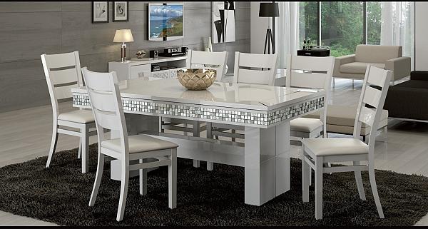 שולחן פינת אוכל + 6 כיסאות מאפוקסי בשילוב אבני קריסטל דגם שגב - 1