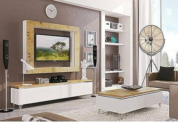 מזנון + שולחן + מסגרת פלזמה דגם N 878 מעץ אלון מבוקע מלא בשילוב אפוקסי - 1