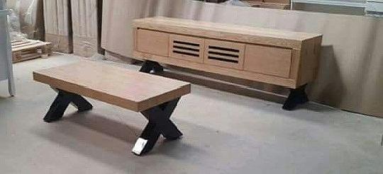מזנון ושולחן מעץ אלון מבוקע בשילוב רגליים אפוקסי דגם תום - 1