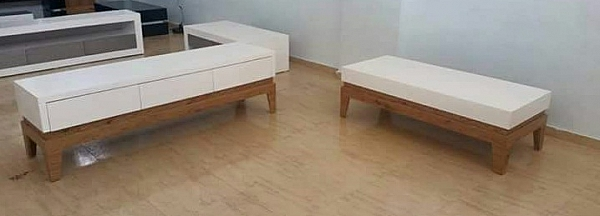 סט מזנון ושולחן אפוקסי בשילוב אלון מבוקע דגם - N9918 - 1