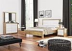 חדר שינה יוקרתי מעץ אלון מבוקע בשילוב אפוקסי דגם אוליביה