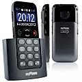 טלפון סלולרי למבוגרים, איזיפון Deco, בתמונה מלפנים מהצד ומאחור בשחור ובלבן