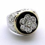 טבעת לגבר זהב לבן 14K משובצת עם 7 יהלומים