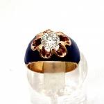 טבעת זהב אדום 14K משובצת עם זרקון ומעוטרת באמייל כחול
