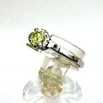 טבעת אירוסין מפלטינה משובצת עם יהלום צהוב 0.46 קראט