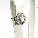 עגילי זהב לבן 14K משובצים עם 34 יהלומים