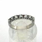 טבעת אירוסין זהב לבן 14K משובצת עם 7 יהלומים