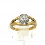 טבעת זהב צהוב ולבן 14K משובץ עם 19 זרקונים