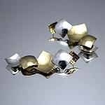 עגילים מכסף מצופים זהב צהוב ולבן 14K