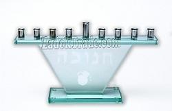 חנוכיה זכוכית משולש