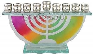 חנוכיה זכוכית - מנורה - 1