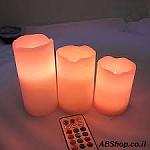 סט 3 נרות שעווה אלקטרוניים + שלט