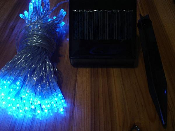 100 נורות לד סולריות לגינה-כחול - 1