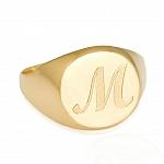 טבעת עבה עם חריטה של אות או שם בהתאמה אישית - בציפוי זהב