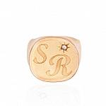 טבעת עם חריטה + אבן משובצת