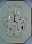 שעון קיר בצורת חמסה עם ברכת בית