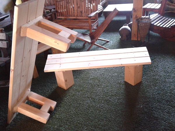 ספסל משולב אורן ועץ גושני-1300 ש