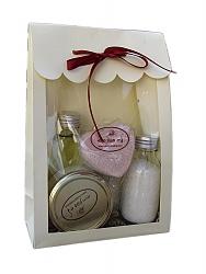מארז נר עיסוי, שמן אמבט, חלב אמבט, פצצת אמבט לב, מלח אמבט