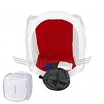 אוהל צילום לבן 30x30x30 + ארבעה רקעים: לבן, אדום, שחור, כחול