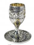 גביע קידוש , כוס קידוש , גביע קידוש ירושלים , גביע מעוצב , גביע קידוש מהודר , גביע קידוש חומות ירושלים ,