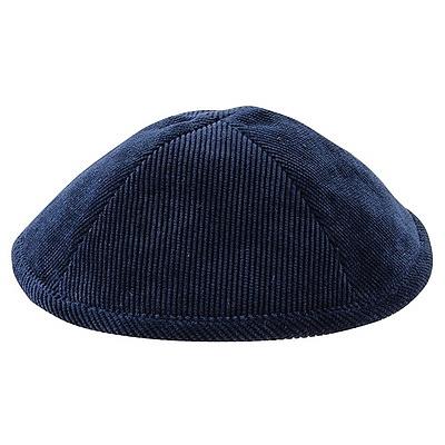 כיפה קורדרוי כחול כהה - 1