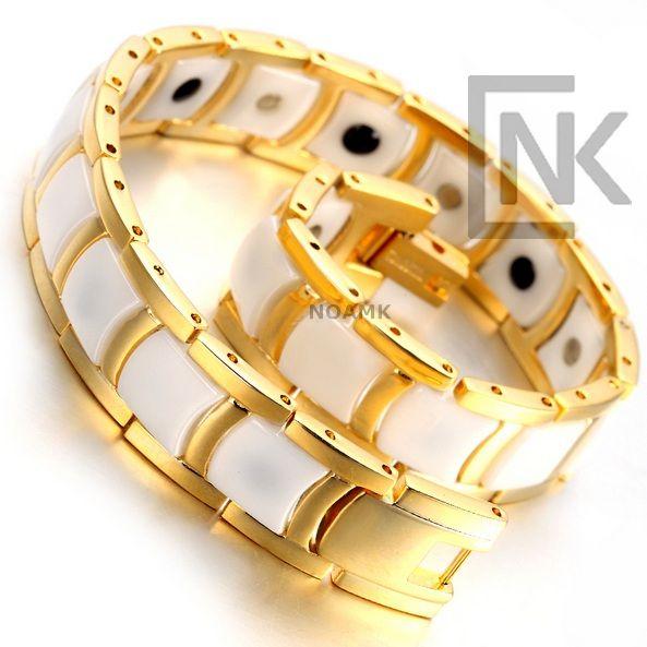 צמיד זהב בשילוב לבן לגבר