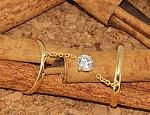 טבעת כפולה עם שרשרת ואבן זוורובסקי