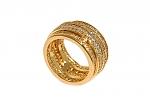 טבעת חבלים גולדפילד 18 קראט משובצת אבני זוורובסקי