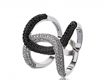 טבעת כסף 925 לולאה משובצת אבני סוורובסקי לבנים ושחורים
